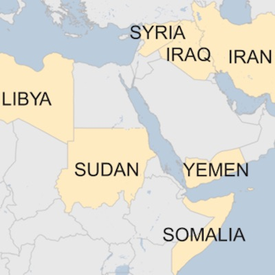 Map of Travel Ban Countries