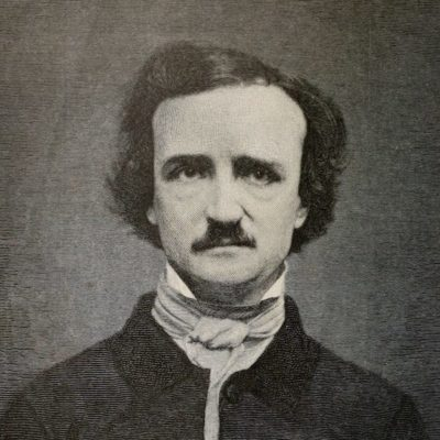 black and white portrait of Edgar Allan Poe
