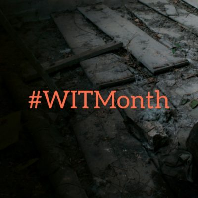 Women in Translation month hashtag with dark background