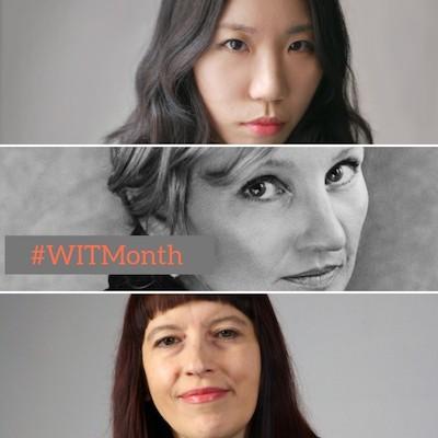 photos of Two Lines Press authors Kim Sagwa, Naja Marie Aidt, and Lidija Dimkovska