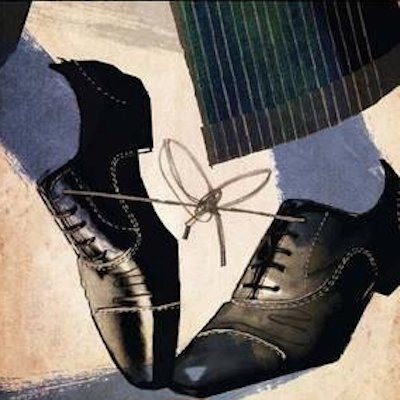 Illustration of a man with dress shoes tied together
