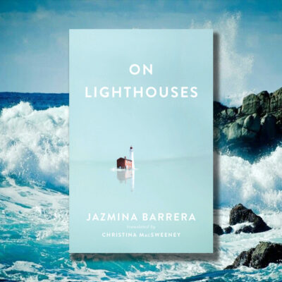 On Lighthouses book cover with crashing waves in the background