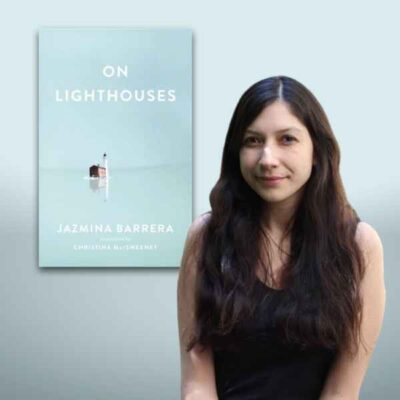 Jazmina Barrera photo with On Lighthouses cover in background