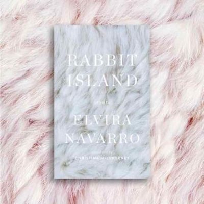 Rabbit Island cover on a pink furry background