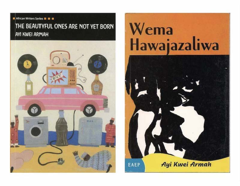 Book covers in English and Swahili for The Beautyful Ones Are Not Yet Born