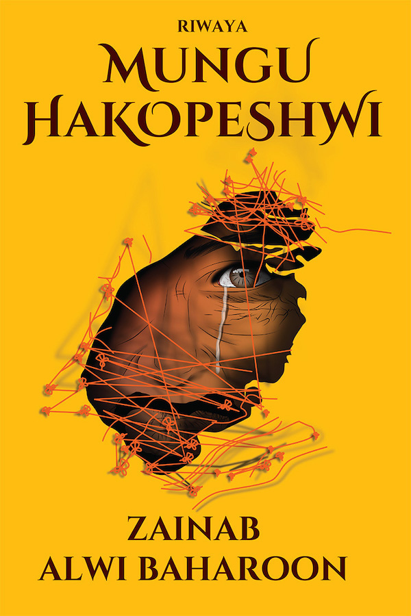 book cover with face looking through a tear in yellow fabric